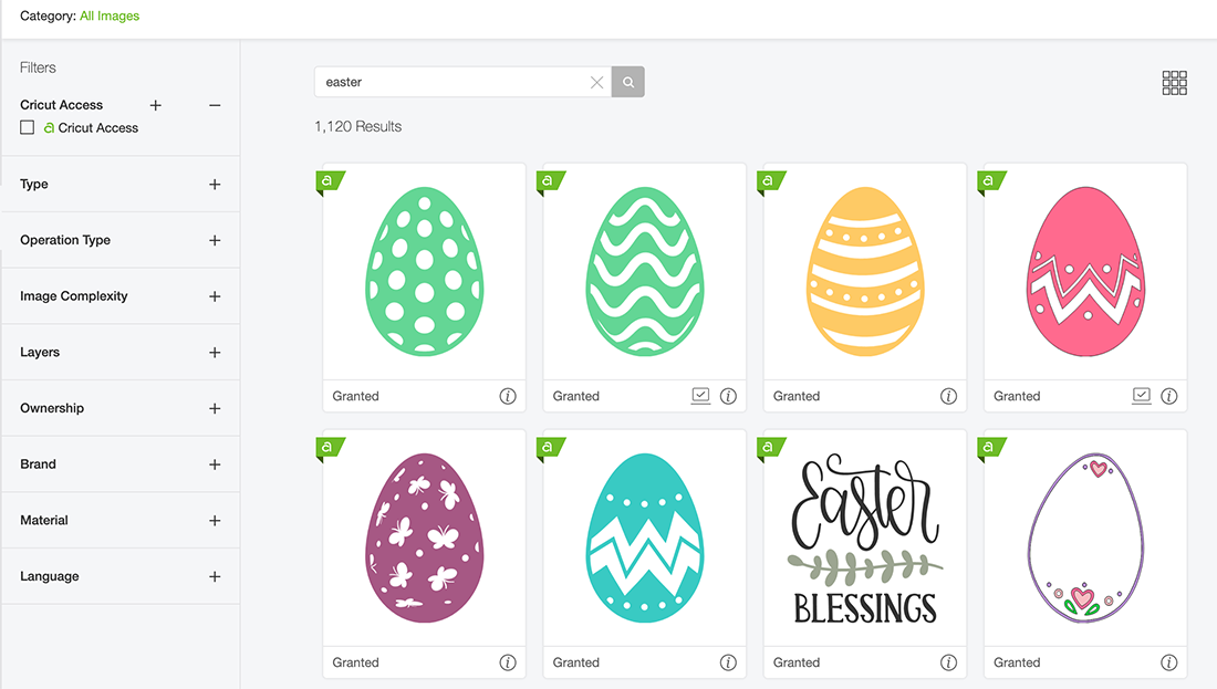 Search for Easter and Eggs in Cricut Design Space