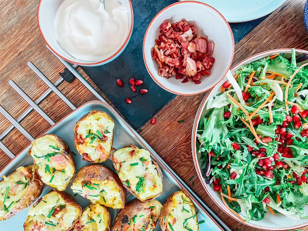Stuffed jacket potatoes with cheese, chives and pancetta recipe