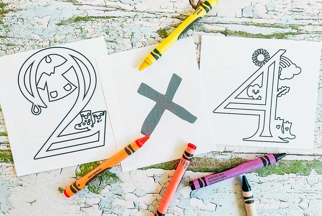 Weather themed colouring numbers and signs for home school maths