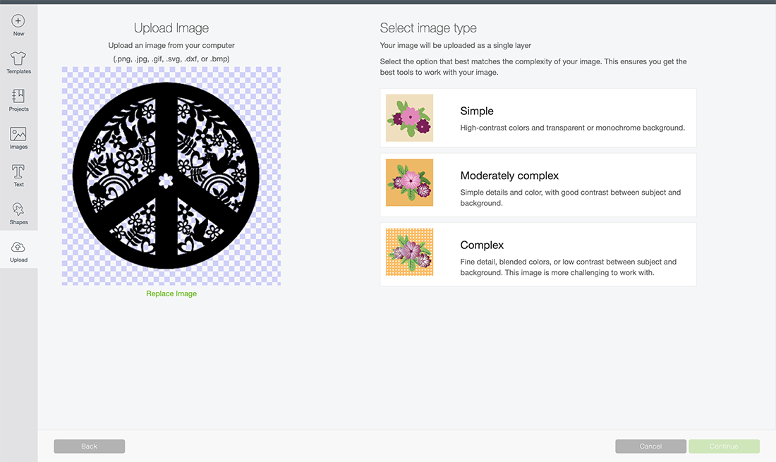 adding files to Cricut Design Space