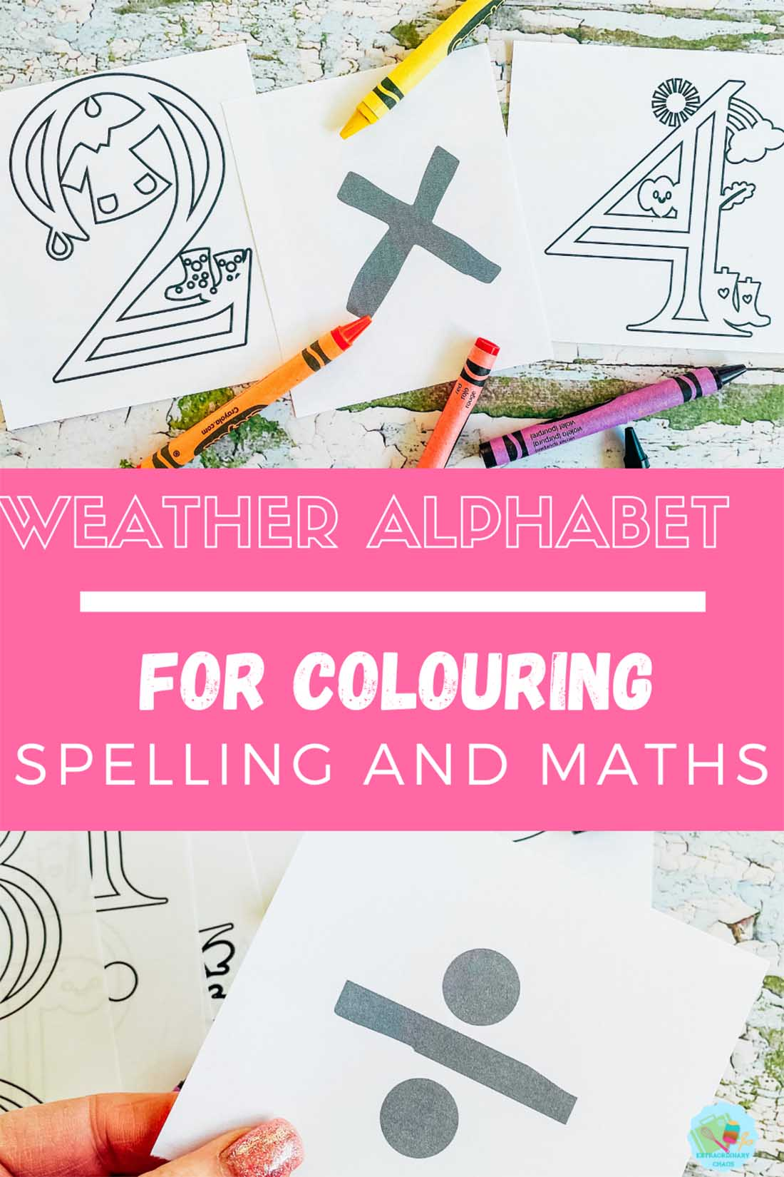 printable weather alphabet for colouring spelling and maths for home school with kids