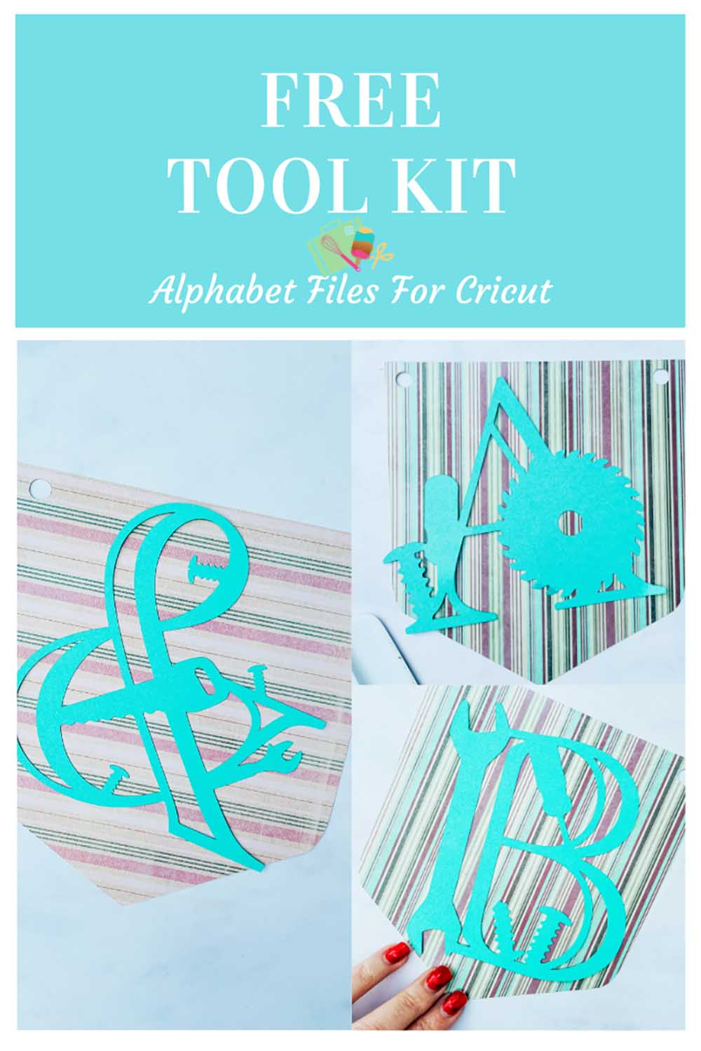 Free downloadable Cricut Tool kit alphabet and numbers for Cricut projects, card making and scrapbooking layouts-3