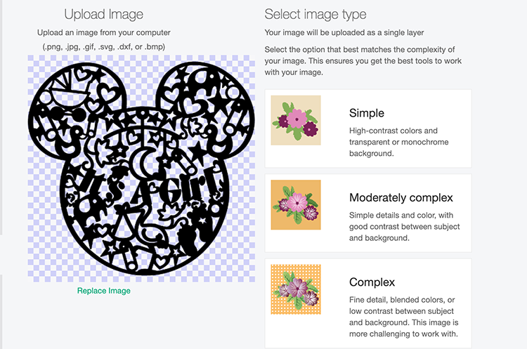 How to upload your Mickey file to Cricut Design Space