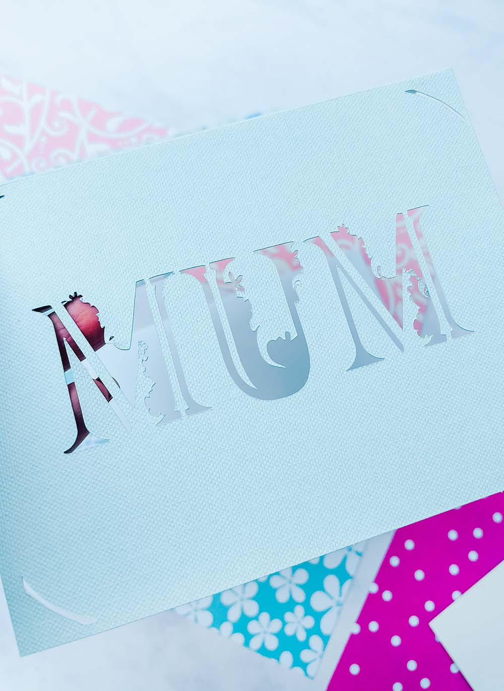 Mothers Day Card without the Backing on it made for the Cricut Joy