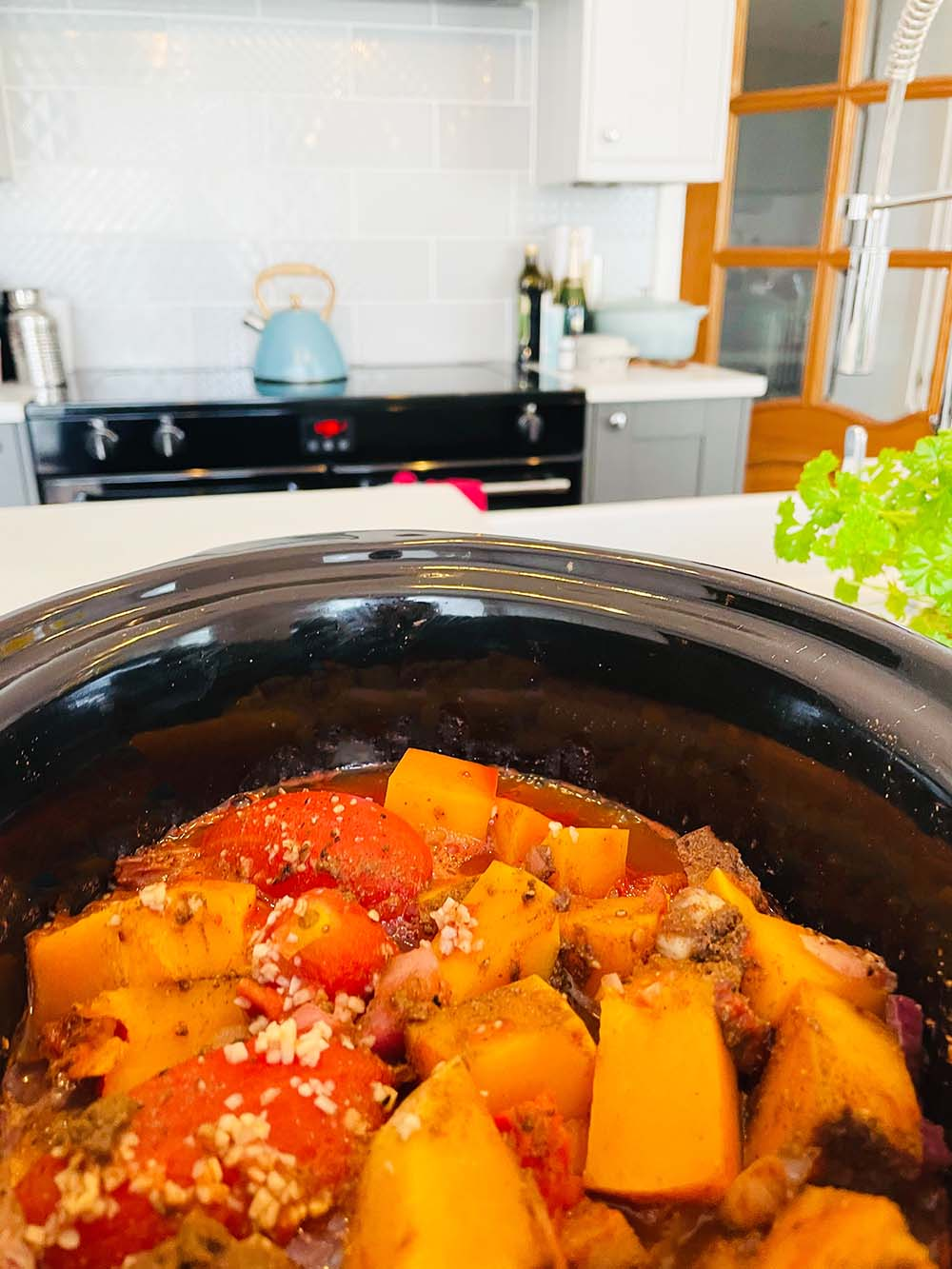 easy midweek meal slow cooker butternut squash curry