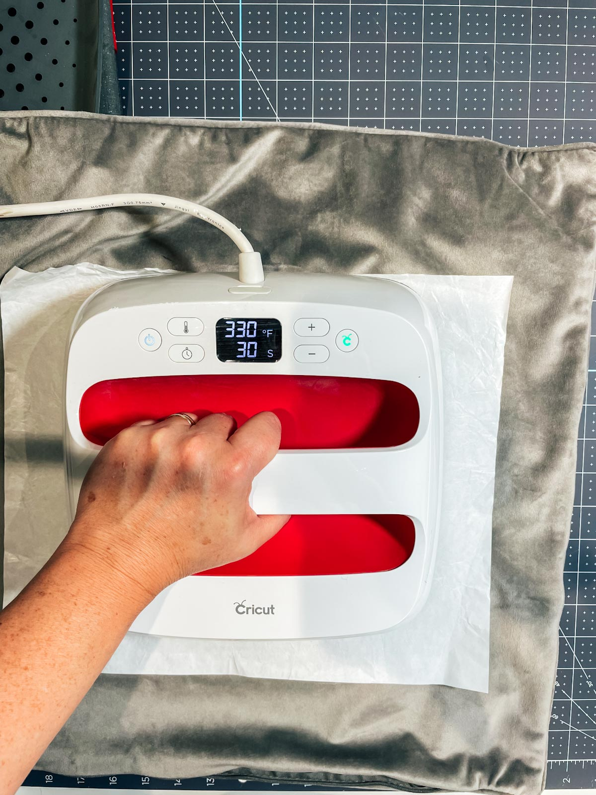 follow the cricut heat guide to use iron on vintyl