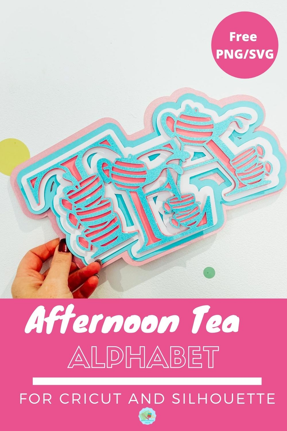Free Afternoon Tea Alphabet SVG for Cricut And Silhouette -2