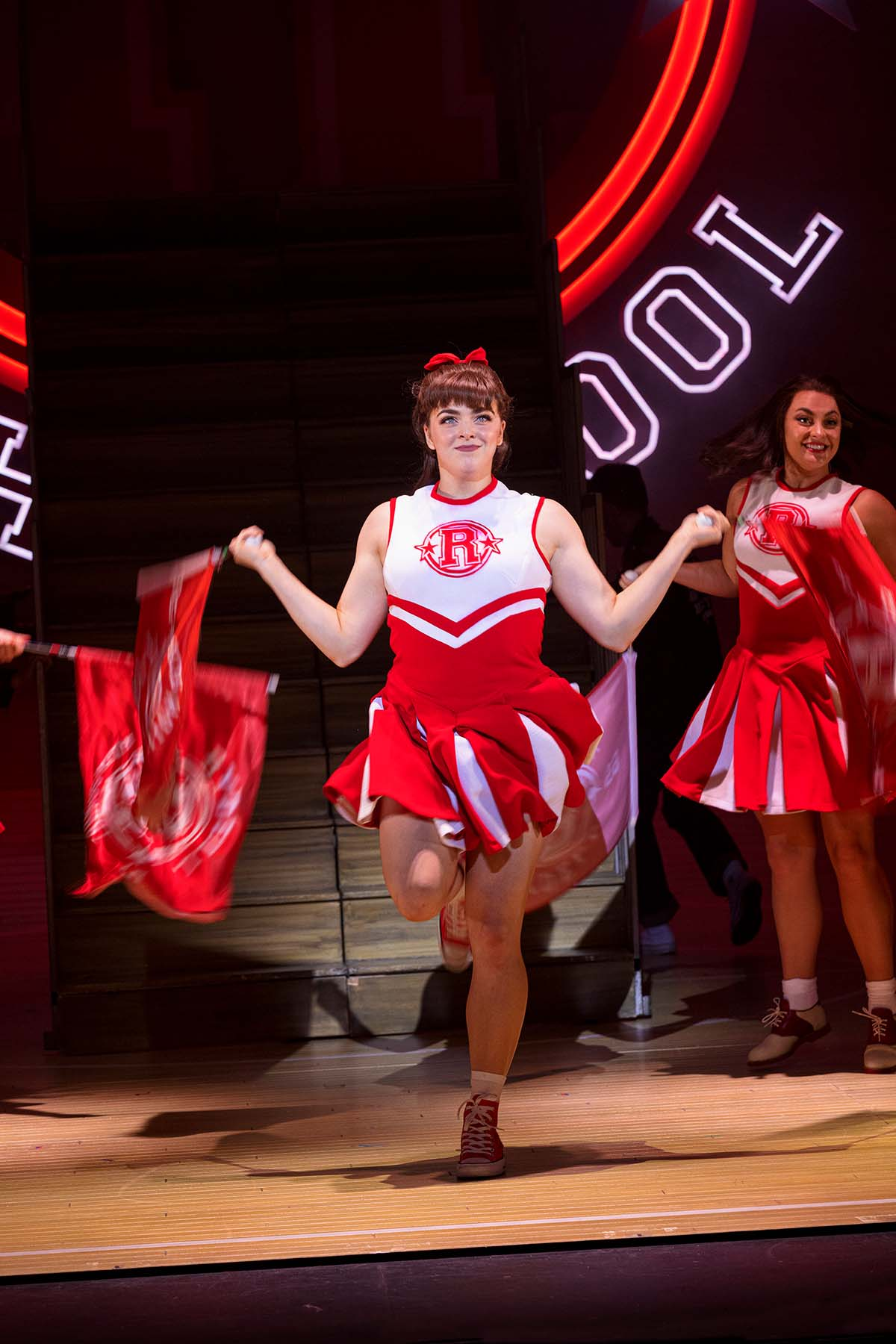 Grease The Musical UK Tour REview 2021:22 Thea Bunting as Patty Simcox in Grease, credit Sean Ebsworth Barnes